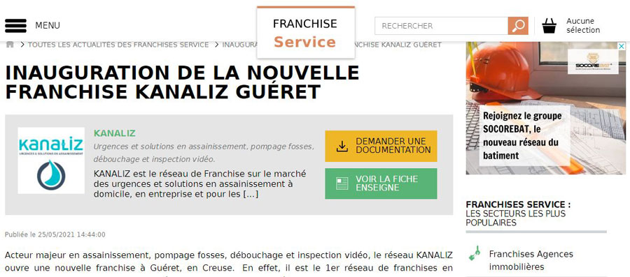 Toute La Franchise parle de l'ouverture de KANALIZ Guéret